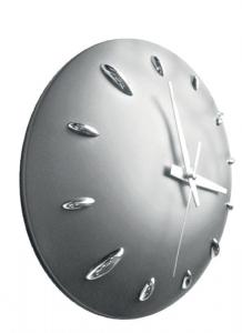 Orologio muro plastica grigio cm.6h diam.28,5
