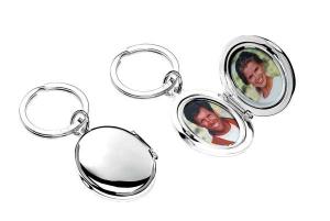Portachiavi ovale portafoto silver plated cm.12,5x7x3h