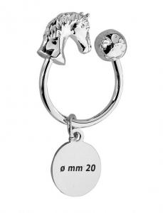 Portachiavi testa di cavallo equitazione in silver plated cm.4,2x3,5x2h
