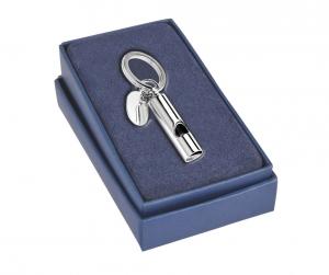 Portachiavi fischietto silver plated con piastrina cm.8x1,2x2h