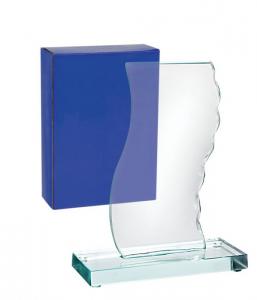 Trofeo bianco vetro base verde