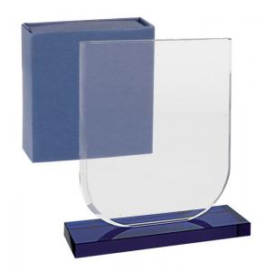 Trofeo in vetro bianco base blu cm.12x5x13,3h