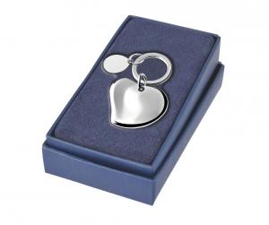 Portachiavi cuore con piastrina ovale in silver plated cm.7x4,2x2h