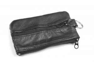 Portachiavi portamonete in pelle nera