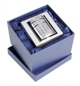 Calendario perpetuo in silver plated cm.8x9x9h