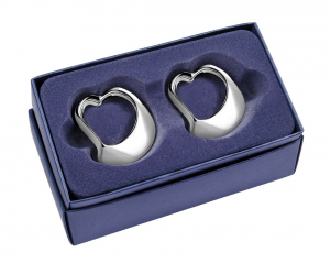 Portatovagliolo cuore silver plated set da 2 pz