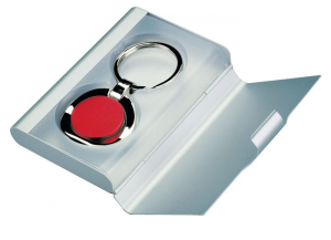 Portachiavi rosso in metal box cm.7,5x3,6x1h