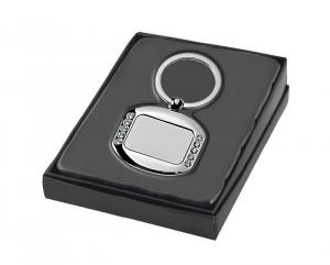Portachiavi cristalli square satinato cm.7,1x4,2x1h