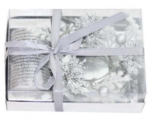 Candela natalizia argentata con piattino