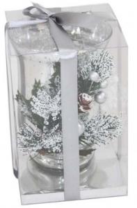 Portacandela di Natale natalizio bicchiere argentato