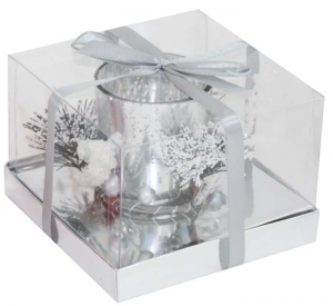 Candela bicchiere argento e rametti di pino cm.12,2x12,2x9h