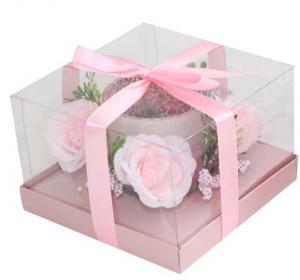 Candela bicchiere fiori rosa cm.13,5x13,5x9h