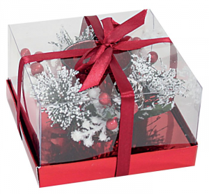 Candela natalizia bicchiere rosso e decorazioni cm.12,3x12,3x7,5h