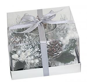 Candela bicchiere argento cm.12,3x12,3x7,5h