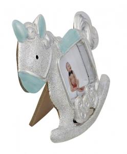 Portafoto argentato cavallo a dondolo azzurro