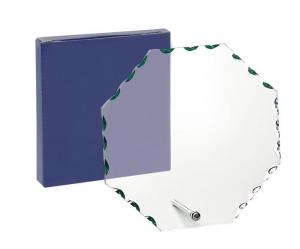 Trofeo in vetro con supporto forma circolare cm.15x16,5x1h