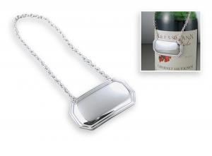 Targhetta decanter con catenella in silverplated