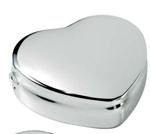 Portapillole cuore doppio cromato cm.6x5,4x2h