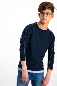 T-Shirt Maniche Lunghe Blu Scuro Ragazzo
