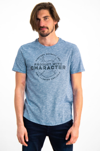 T-Shirt Azzurra Con Stampa Uomo