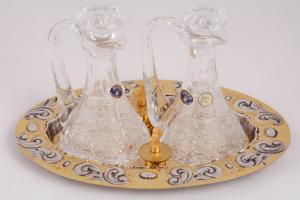 Servizio Ampolle in Cristallo con Piattino Cesellato LIS277