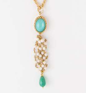 Collana lunga con ciondolo chandelier in ottone galvanizzato resina e agata
