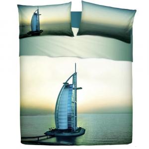 Lenzuola matrimoniali effetto-copriletto BASSETTI DUBAI grattacielo