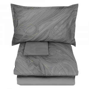 Double duvet cover 2 squares SOMMA in AURUM smoke satin
