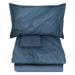 Double duvet cover 2 squares SOMMA in AURUM blu satin