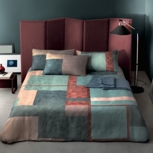 Double duvet cover 2 squares SOMMA in multicolored ZEUS satin