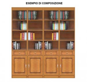 Libreria modulare con anta e cassetto