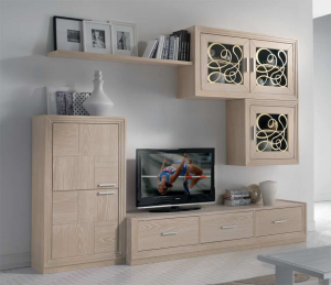 Composizione soggiorno legno naturale 'Nizza'