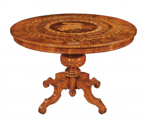 Tavolo rotondo finemente intarsiato diametro 120 cm