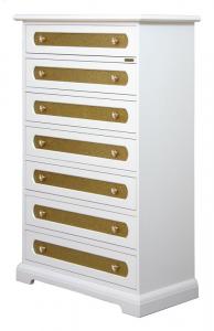 Cassettiera 7 cassetti Bianco e oro glitter