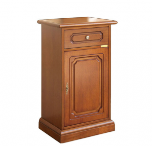 Porta telefono in legno con cassetto e anta, stile classico