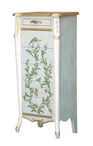 Cassettiera decorata a mano alta con piedini