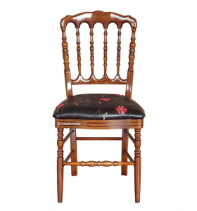 Sedia seduta in eco-pelle decorata 'Bel Bistrot'