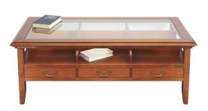 Tavolino piano in vetro e 3 cassetti