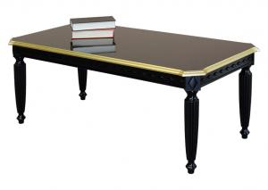 Tavolino nero con dettagli in foglia