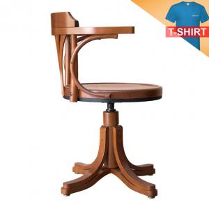 Poltroncina girevole con seduta in legno
