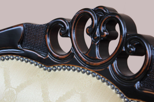 Poltrona stile Ottocento nero e ciliegio