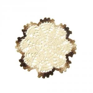 Set SOTTOBICCHIERI beige e marrone sfumato all'uncinetto