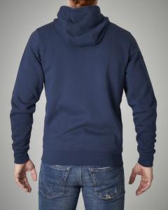 Felpa blu con zip e cappuccio