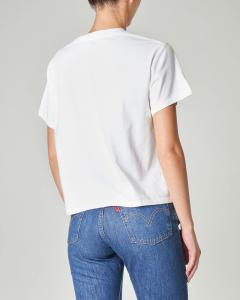 T-shirt cropped bianca in cotone con maniche corte e logo ricamato multicolor