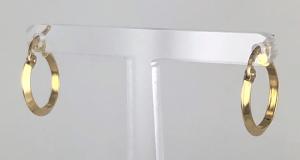 ORECCHINI A CERCHIO  LUCIDI CANNA PIATTA ORO 18 KT DIAMETRO 1,40 CM
