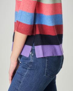 Maglia a righe multicolor in lana misto cashmere con collo alto e maniche tre quarti