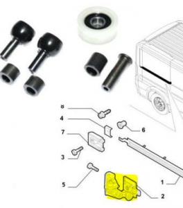 Kit riparazione guida porta scorrevole centrale Fiat Ducato