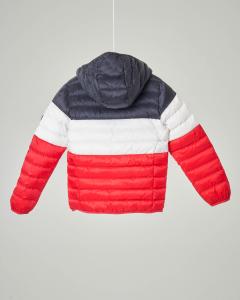Piumino tricolore blu bianco e rosso con cappuccio 10-12 anni