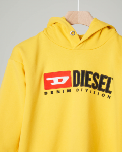 Felpa gialla con cappuccio e logo vintage in feltro 10-14 anni
