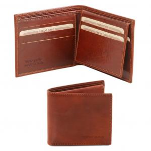 Tuscany Leather TL141353 Esclusivo portafoglio uomo in pelle 3 ante Marrone
